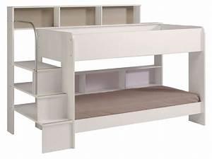 Lit à étage : lit superpos 90x200 cm blanc bibop coloris blanc vente de lit enfant conforama ~ Teatrodelosmanantiales.com Idées de Décoration