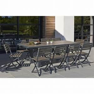 Ensemble Table De Jardin : ensemble table extensible de jardin 160 220 cm 6 chaises pliantes aluminium composite gris ~ Teatrodelosmanantiales.com Idées de Décoration