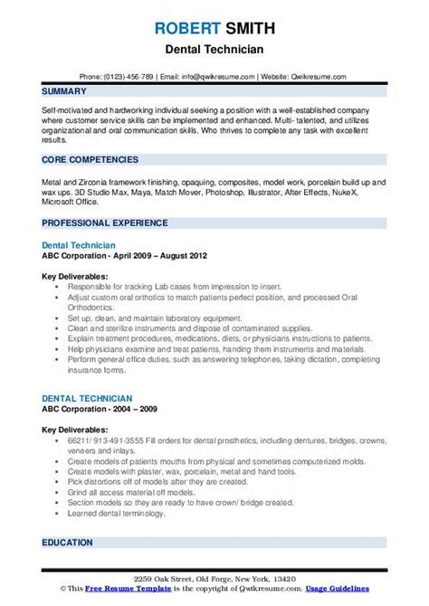 dental technician resume samples qwikresume