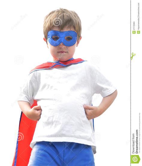 Brave Super Hero Boy On White Stock Photo - Image of hero ...