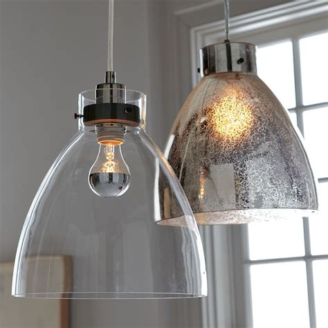glass pendant lights industrial ceiling l clear glass west elm uk