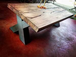 Table Pied Croisé : table basse industrielle pied m tal cross cr ation sur ~ Teatrodelosmanantiales.com Idées de Décoration