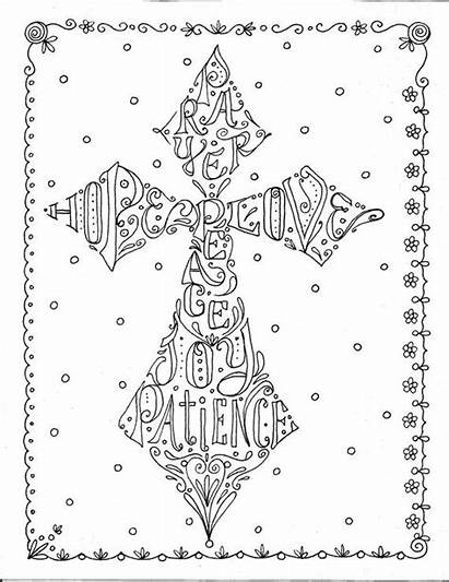 Coloring Pages Cross Bible Scripture Adult Christian