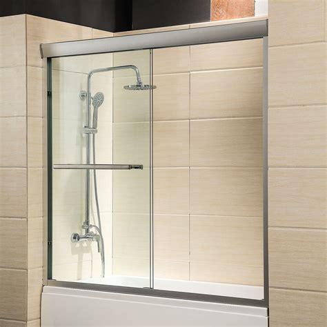 sliding glass shower doors for bathtubs 60 quot framed 1 4 quot clear glass 2 sliding bath shower door