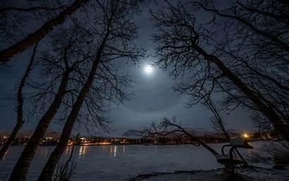 Moon Night Winter Park Bench Shining Lake