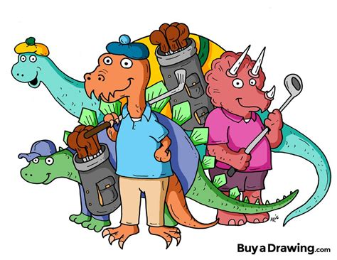 Want to discover art related to cartoon_dino? Cartoon Dinosaurs Golfing Drawing for T-Shirts