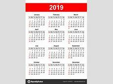 Estados Unidos calendario red 2019 vector — Vector de