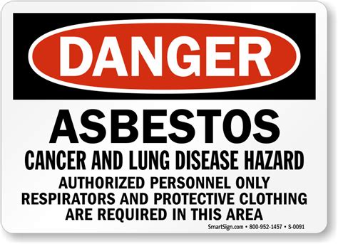 danger asbestos sign cancer hazard authorized person
