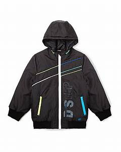 Neon Trim Hooded Bomber Jacket Boys