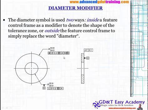 asme iso gdt tutorial training  diameter modifier