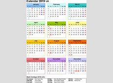 Free Download Printable Calendar 2019 with UK holidays