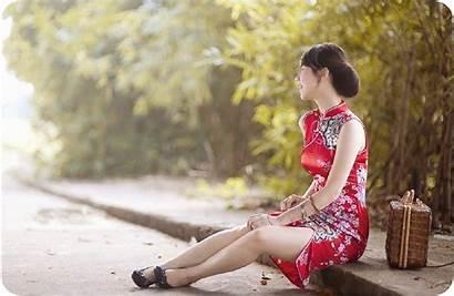 Sitting Spring Leg Romance Outdoors Abdomen Asian