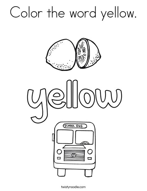 color  word yellow coloring page twisty noodle