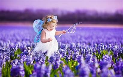 Spring Nature Flowers Happy Children Fun Purple