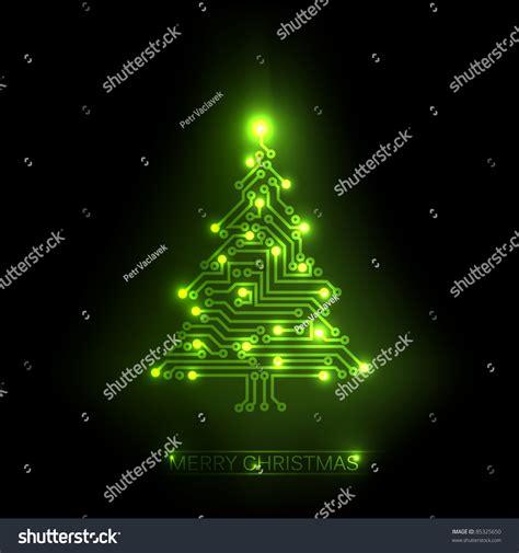 vector christmas tree digital electronic green stock