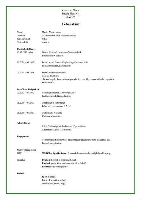 Tabellarischer Lebenslauf Muster Kostenlos by 21 Lebenslauf Muster Kostenlos Freyajacklin