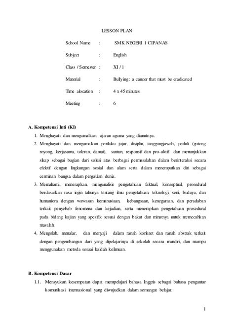 lesson plan senior high school class xi