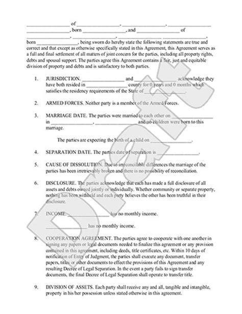 virginia separation agreement template marriage separation agreement template with sle