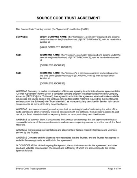 Trust Agreement Template Uk by Source Code Trust Agreement Template Sle Form