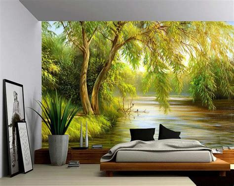 tree river bank summer landscape large wall mural