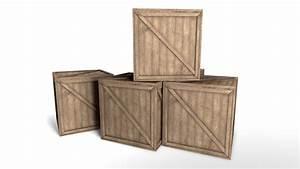 3d, Model, Wooden, Crate, Box