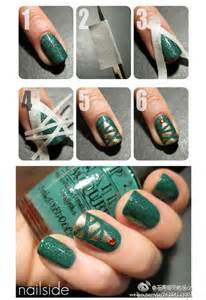 Easy simple christmas tree nail art tutorial for