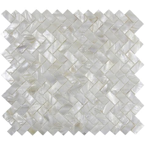 white herringbone mother of pearl shell tile for
