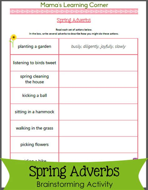 spring adverbs worksheet mamas learning corner