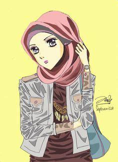 images  hijab animasi  pinterest hijabs muslim  anime