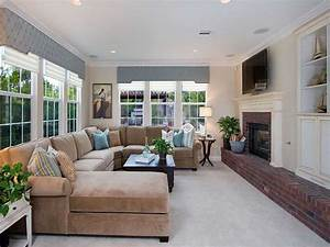 Narrow Family Room Decorating With Fireplace Under LED TV