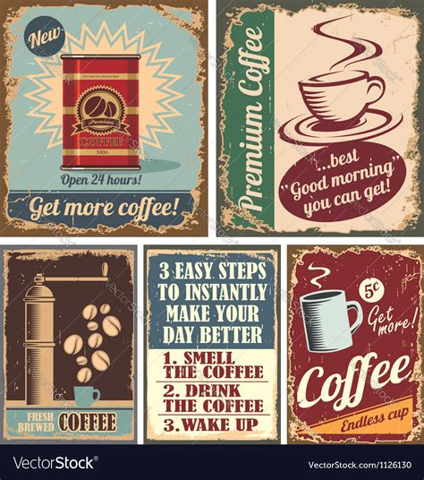 Poster coffee coffee poster cafe poster symbol decorative decoration background cafe cup advertising banner drink vector cover element template vintage beverage emblem coffee cup coffee. Vintage coffee posters and metal signs Royalty Free Vector
