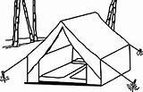 Coloring Camping Tent Camper Template Tarp Printable Sketch sketch template