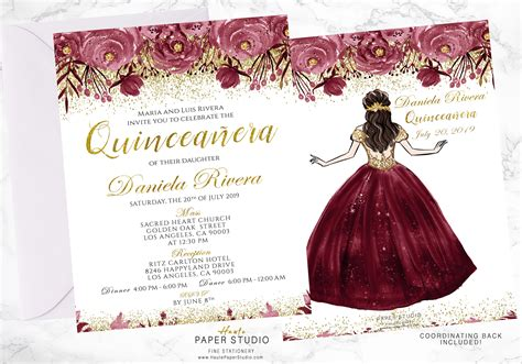 Quinceanera Personalized Floral Spanish Invitation