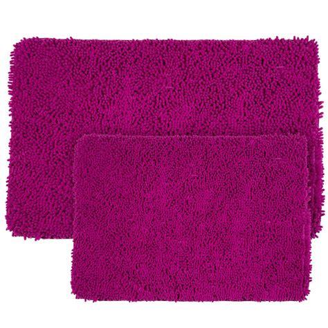 memory foam  piece bath mat set shag pink fuchsia plush