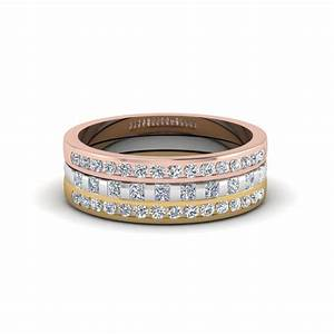 tri color gold round and princess stackpreset engagement With tri color wedding ring
