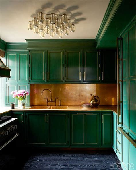 dark green kitchen cabinet