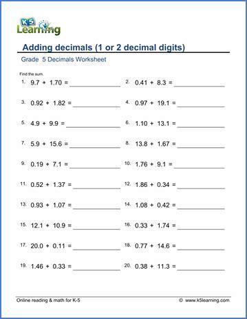 grade  decimals worksheet adding decimals    decimal
