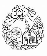 Coloring Pages Christmas Coloringhome Wreath Popular Printable Winter sketch template