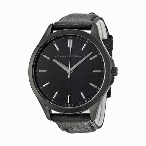 watches for men armani exchange black dial black leather strap men 39 s watch