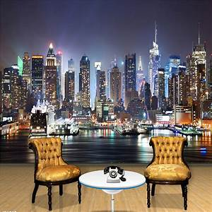 custom 3d photo wallpaper new york city night wall With what kind of paint to use on kitchen cabinets for new york city skyline wall art