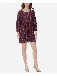 William Rast  99 Womens Maroon Floral Sandra Bell Sleeve