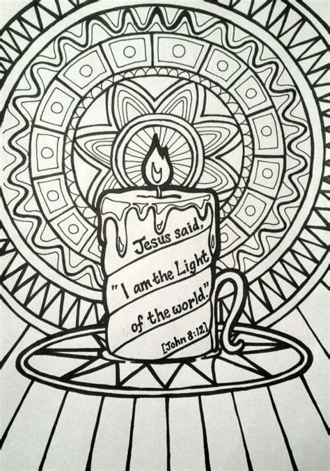 jesus     light   world colouring page patterned candle picture jesus