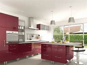 cuisine rouge plan de travail gris With plan de travail cuisine rouge