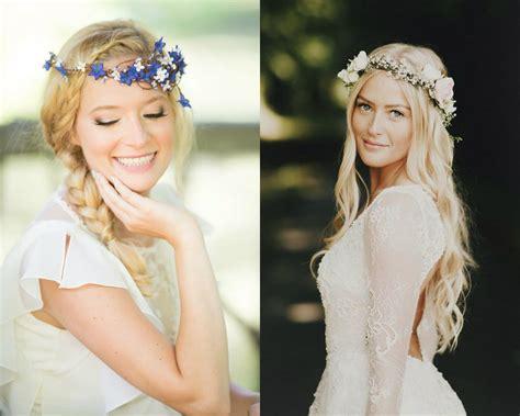 flower crown wedding hairstyles  marry  summer