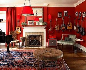 music themed room ideas with red wall paint color home With awesome photo wall ideas for your house