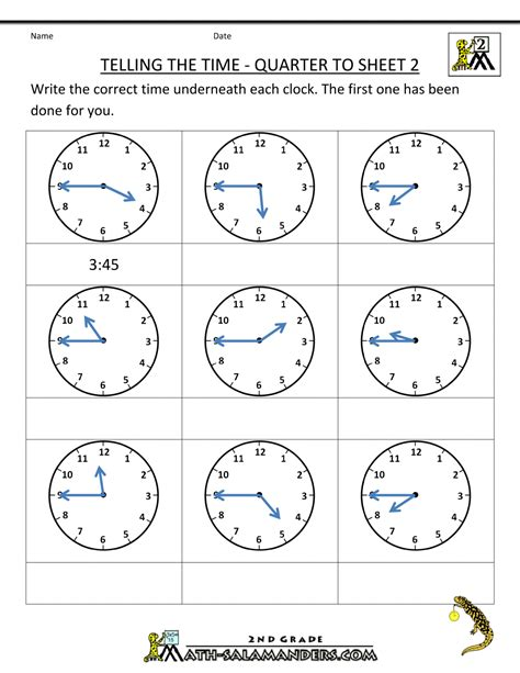 clock worksheets quarter   quarter  time