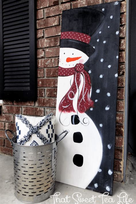 diy wood signs     snowman painting  wood