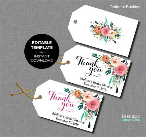 editable bridal shower favor tags template floral rustic