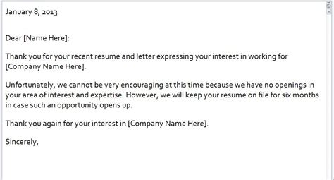 rejection email template rejection letter email