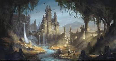 Deviantart Temple Fantasy Castle Digital Deviant Drawings
